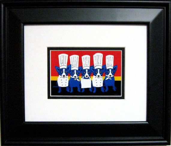 GEORGE RODRIGUE BLUE DOG Heat in the Kitchen POSTCARD - FRAMED  13.5 x 11.5