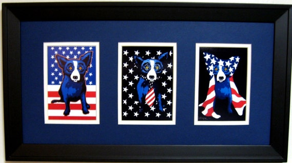 George Rodrigue Blue Dog Patriotic Trio Framed 22 In X 12