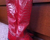 Vintage Red Cowboy Boots 7 1/2