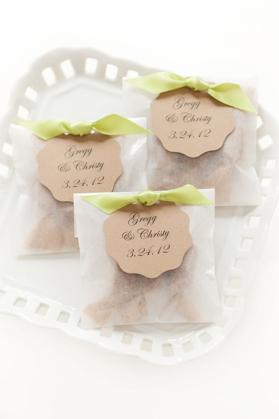 Best Seller Fleur de Sel Caramel Wedding Favors in Eco Friendly White Glassine Envelopes - 100 Guests