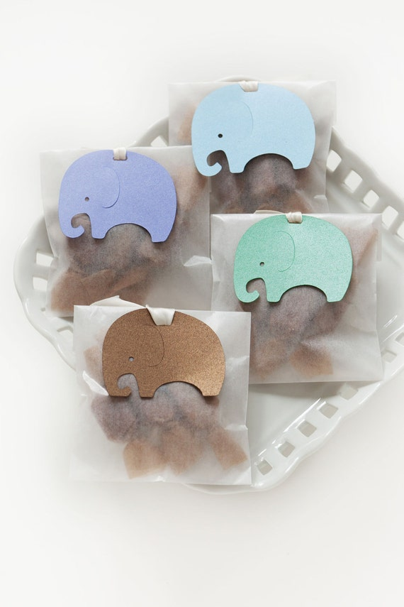 Elephant Baby Shower Favors - Brown, Green, Blue, Pink, Purple, Yellow - Fleur de Sel Caramels in Glassine Envelopes - 25 Guests