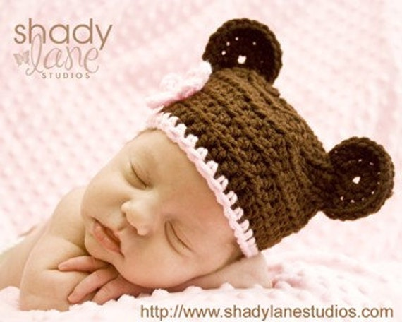 Crochet Baby Hat Bear Ears Pattern : Newborn Baby Bear Ears Beanie PDF Crochet Pattern by ...