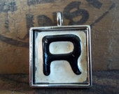 Letter R  Recycled License Plate Pendant