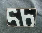Vintage License Plate 56 Belt Buckle
