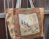 Tapestry Tote with Needlepoint - Sweet Home