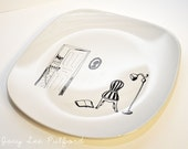 Hand Painted Porcelain Square Round Edge Plate, Explore Whimsical Reading Illustration