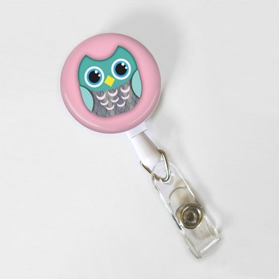 Retractable ID Badge Reel - Badge Holder - Owl on Pink Background