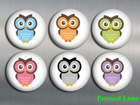 BARNYARD OWL MAGNETS with gift pouch - Set of 6