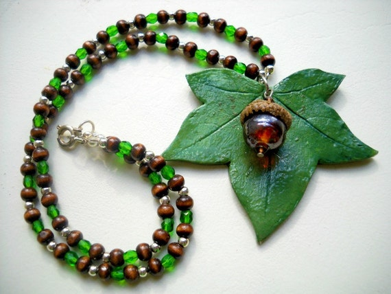 SALE Never Leaf Me - Polymer Clay Beaded Necklace
