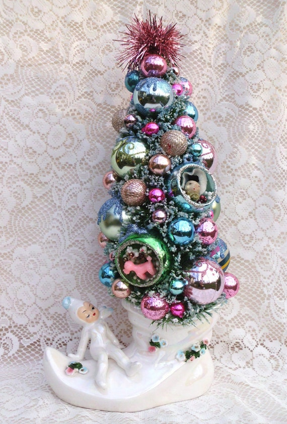 RESERVED for Gregory Vintage Inspired Bottle Brush Tree with VTG and New Blue and Pink Ornaments inside White Boot with Adorable Pixie Elf