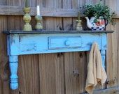 Primitive Farmhouse Style Display Shelf, Towel Bar Or Coat Rack, COUNTRY SKY BLUE
