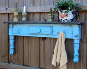 Farmhouse Style Headboard, Window Cornice, Towel Bar Or Coat Rack, Country Sky Blue MADE TO ORDER