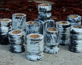 Candle Holders, Black And white Up Cycled Wooden Furniture