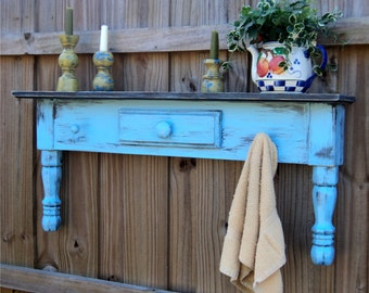 Farmhouse Style Headboard, Window Cornice, Towel Bar Or Coat Rack, Country Sky Blue MADE TO ORDER