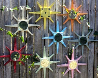 Beach Style Star Burst Wall Mirrors, Lake House Decor, Rustic Wall Hanging