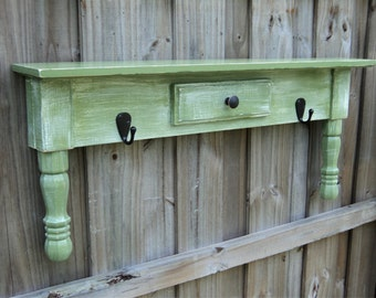 Towel Bar Or Coat Rack, Primitive Farmhouse Style Display Shelf, You Choose Colors