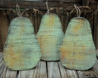 Primitive Wooden Pears, Country Shelf Sitters, Rustic Decor