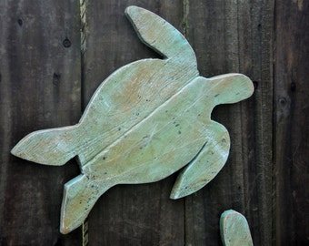 Beach-y Casual Cottage Decor, Rustic Wooden Sea Turtles, Nautical Wall Hanging, Coastal Living