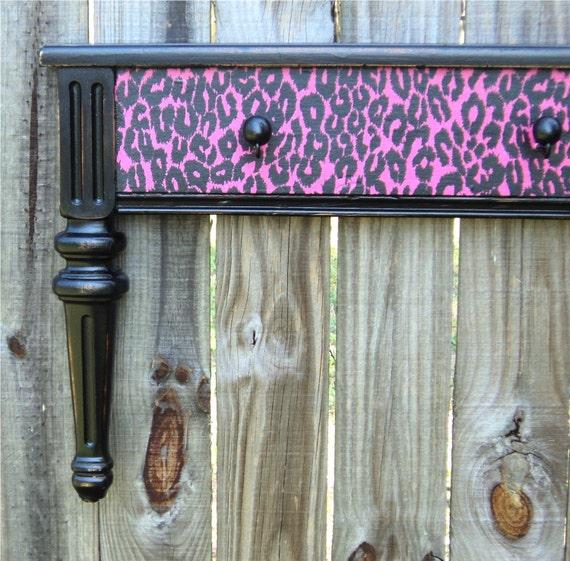 Hot Pink Leopard Print Coat Or Towel Rack, Display Shelf, Funky Wall Art