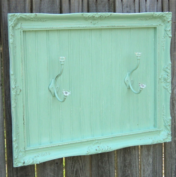 RESERVED For NORA PLATT Coat Rack / Towel Hooks Aqua Green Gesso Frame