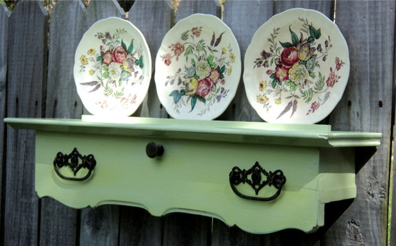 Plate Display, Wall Art UpCycled Furniture, Reclaimed Antique Secretary