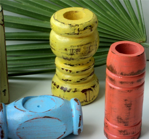 Wooden Candle Holders Tropical Decor Up Cycled Furniture