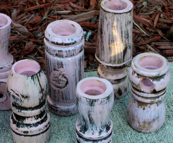 Wooden Candle Holders, UpCycled Furniture Legs, Shabby Distressed Pink Cottage Decor
