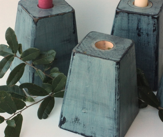 Chunky Wooden Candle Holders, Rustic Primitive UpCycled Furniture Legs In SAGE GREEN