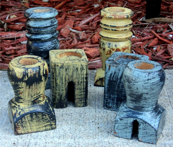Candle Holders, Rustic Mustard And Sage Up Cycled Wooden Furniture
