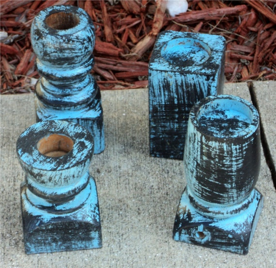 Candle And Tea Light Holders, Country Sky Blue Over Black Primitive Up Cycled Wooden Furniture