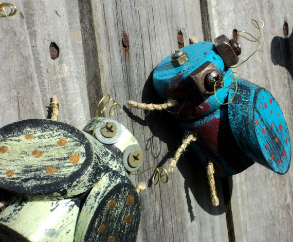Set Of 3 BABY BUGS, Up Cycled Furniture Parts, House Plant Decor, Yard Ornaments, Made to Order