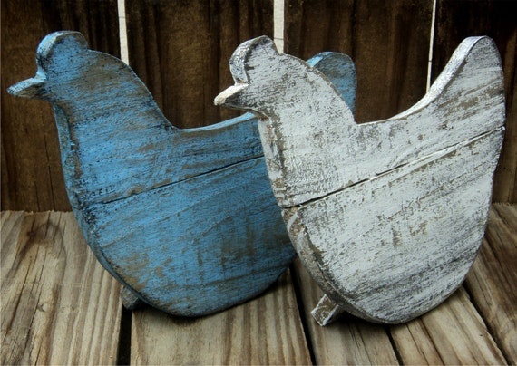 Set Of 2 Wooden Country Chickens, Rustic Shelf Sitters, Farmhouse Decor