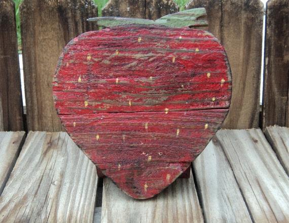 Primitive Wooden Strawberry, Shelf Sitter, Farmhouse Decor