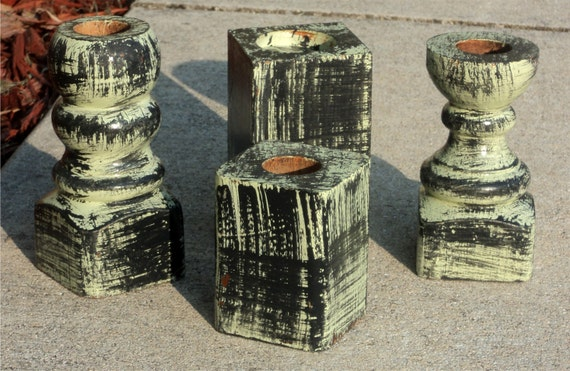 Candle Holders, Distressed Pale Green, Up Cycled Wooden Furniture