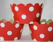Red Polka Dot Cupcake Holders