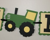 Tractor Green and Yellow Happy Birthday Banner