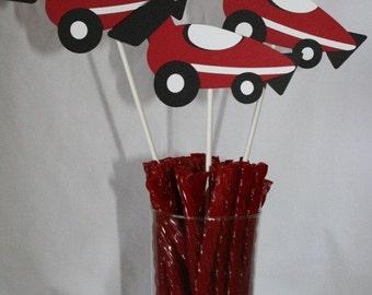 Red Race car Centerpieces 3 car centerpieces