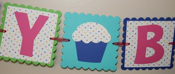 Happy Birthday Cupcake Banner