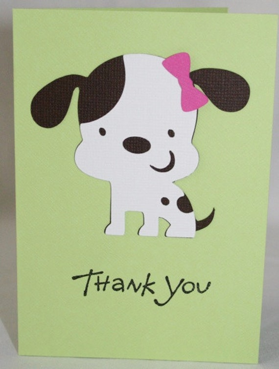 Girl Puppy dog Thank you cards by scraptags on Etsy