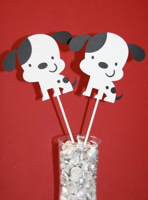 Black and White Puppy Dog Centerpieces