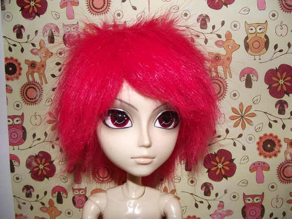 SALE cute bright red faux fur wig hair for Pullip/Taeyang/Dal