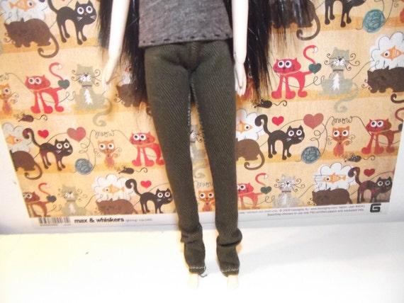 Dark brown jeans skinny pants for pullip