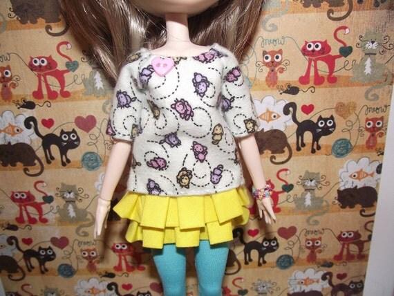 Cute cream with cats adn pink heart shirt t-shirt for Pullip