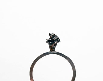Watercast Ring in Rose // Tiny Feminine Sterling Watercast Rose Ring (6)
