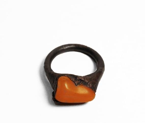 Warm Mandarin Orange Opal Copper Ring For Him or Her (8.5-9)