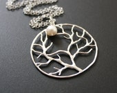 Full Moon Tree Necklace Freshwater Pearl Silver
