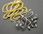 Pendant necklace Gunmetal Tree Necklace Gold