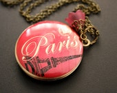 Pink Paris Locket Necklace Paris Postcard Locket Pendant necklace