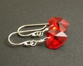 Swarovski Heart Earrings Sterling Silver Red