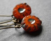 Burnt Paprika Coin Earrings Antique Brass